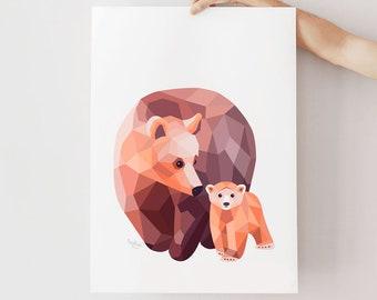 Bear illustration, Bear print, Geometric bear, Nursery animals, Baby bear art, Mother baby art, Baby animal art, Bear nursery art, Bear cub