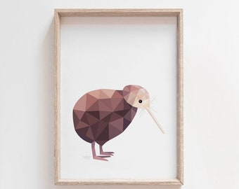 Kiwi poster, Kiwi illustration, Kiwi print, New Zealand kiwi, Geometric kiwi, Kiwi bird art, New Zealand art, Kiwiana art, New Zealand gift