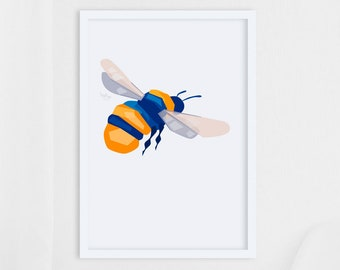 Bumblebee print, Geometric art, Insect art, Bee illustration, Bee print, Bumblebee art, Garden art, Garden wildlife, Gift for gardener, Art