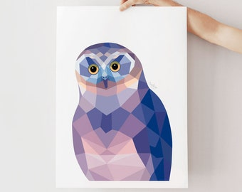 New Zealand owl print, Morepork owl art, Ruru owl painting, Owl illustration, Geometric owl, New Zealand native owl, New Zealand animal art