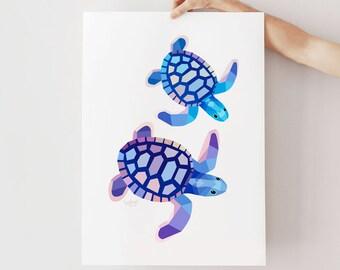Turtle illustration, Turtle print, Turtle nursery art, Sea turtle print, Australian turtle, Ocean nursery decor, Sea creatures, Marine art