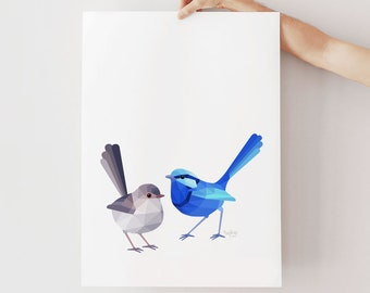 Blue wren illustration, Fairy wren pair print, Blue wren art, Australian birds, Australian wren art, Wren lovebirds, Australian home decor