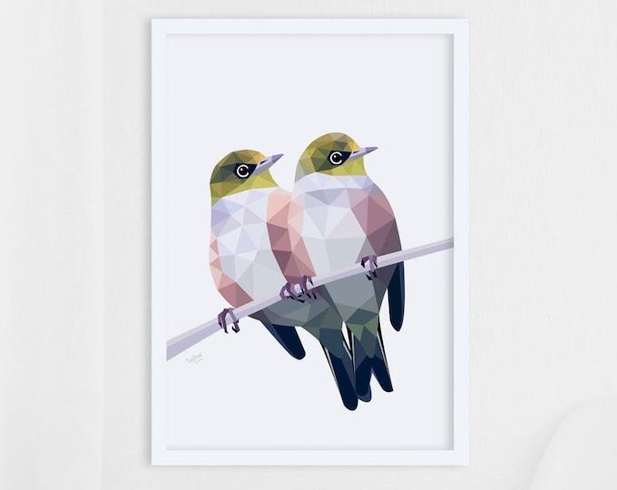 Featured listing image: Waxeye art, Silvereye print, Tauhou, New Zealand birds, New Zealand art, Kiwi art, New Zealand garden, Kiwi wildlife, Tui art, Made in NZ