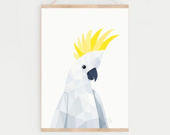 Cockatoo print, Cockatoo illustration, Cockatoo wall art, Australian birds, Bird art, Cockatoo art, Geometric print, Australian wildlife
