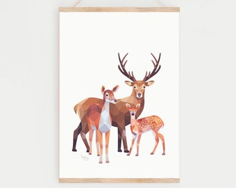 Deer print, Deer illustration, Fawn art, Baby deer, Bambi wall decor, Animal family art, Stag print, Woodland friends art, Forest animals