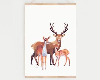 Deer print, Deer illustration, Fawn art, Baby deer, Bambi wall decor, Animal family art, Stag print, Woodland friends art, Forest animals