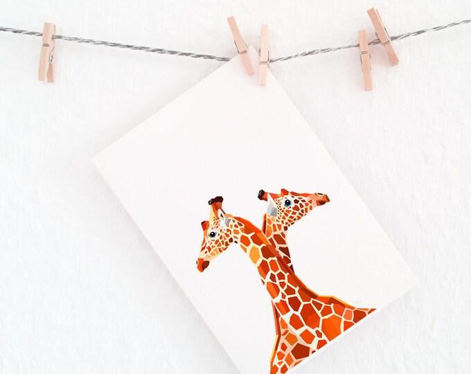 Giraffe print, Giraffe nursery art, Giraffe pair, African animals, Geometric animals, Children's room art, African wildlife art, Safari art