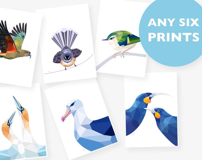 Set of 6 A4 prints, Any 6 prints, Print set, Geometric animal art, Baby room art, Nursery art, New Zealand art, Kea print, Bird illustration