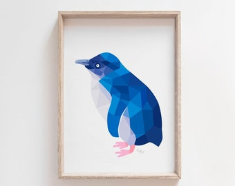 Little blue penguin print, Little penguin art, Penguin illustration, New Zealand penguin, Kiwi art, New Zealand birds, Cute penguin, Kiwiana