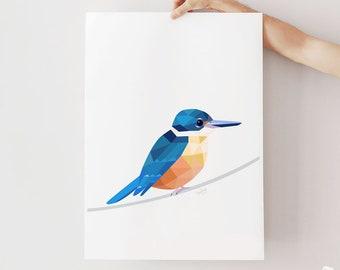 New Zealand kingfisher print, Sacred kingfisher art, New Zealand bird, Geometric kingfisher, New Zealand art, Kiwi wildlife art, Kiwiana art