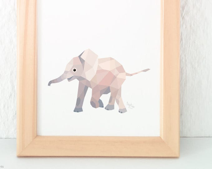 Baby elephant illustration, Elephant print, Elephant art, Geometric print, Cute baby art, Baby bedroom art, Nursery animals, African theme