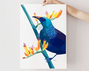 Tui print, Tui illustration, New Zealand bird art, New Zealand gift, New Zealand art, New Zealand artist, Kiwi art, New Zealand card, Tui
