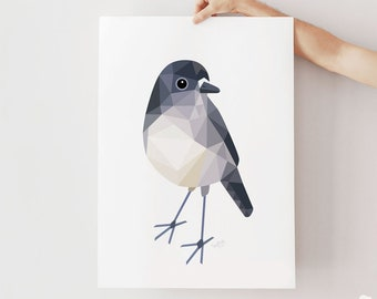 New Zealand robin art, New Zealand robin print, Toutouwai art, North Island robin illustration, Geometric robin, Kiwiana gift, Aotearoa art