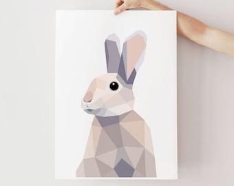 Nursery rabbit print, Geometric print, Rabbit art, Scandinavian print, Geometric nursery prints, Polygon animal prints, Kids art, Decor