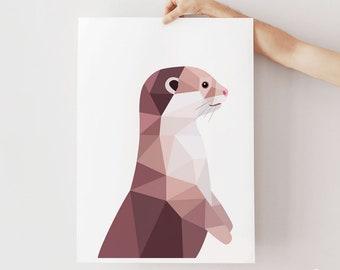 Otter illustration, Otter print, Cute otter art, Animal lover art, Kids room wall art, Woodland wildlife art, Wildlife art, Geometric otter