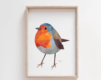 Robin print, Robin illustration, Robin painting, Robin art, Cute bird art, Bird art, Woodland animals, Garden birds art, Woodland wildlife