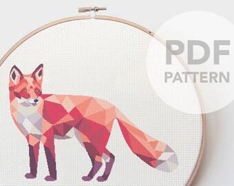 Fox cross stitch pattern, Geometric fox, Cross stitch pattern, PDF cross stitch, Polygon fox, Modern cross stitch, Animal cross stitch,