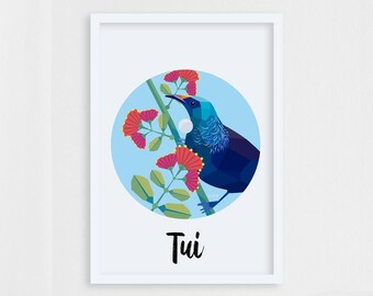 Tui fine art print, New Zealand birds, Tui illustration, Pohutukawa, Kiwi art, Tui painting, New Zealand artist, Circle print, Kiwiana art