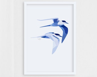Tern print, Flying birds art, Bird pair art, Birds in flight, Geometric bird art, Wildlife art, Bird art, New Zealand birds, Ocean creatures