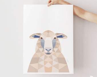Sheep print, New Zealand sheep, Sheep illustration, New Zealand art, Geometric sheep, Neutral decor, Beige poster, Beige wall art, Sheep art