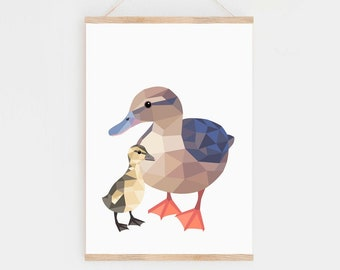 Farm nursery prints, Duck painting, Duck print, Mother duck, Baby duckling art, Duckling print, Duck nursery, Nursery baby animal wall art,