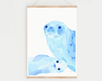Nursery print, Seal illustration, Fur seal print, Arctic animals art, Cute animal art, Baby seal, Animal lover art, Baby animal wall art