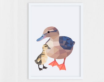 Nursery duck print, Mother duck and ducklings, Duck print, Duckling print, Duck illustration, Mother duck print, Forest animals print, Baby