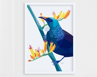 Tui print, Tui illustration, New Zealand birds, New Zealand gift, New Zealand art, Kiwiana, Kiwi art, New Zealand postcard, Tui card, Tui