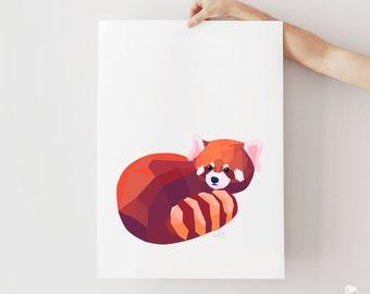 Red panda illustration, Panda art, Red panda print, Modern art, Minimalist art, Geometric panda, Panda painting, Animal print, Panda poster