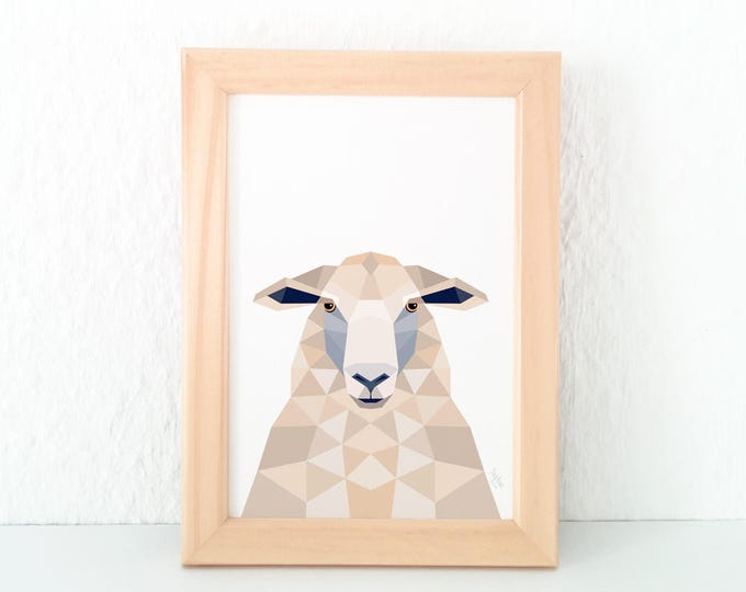 Sheep print, New Zealand sheep, Sheep illustration, Sheep face, Animal portrait art, New Zealand art, Geometric sheep, Kiwiana, Sheep art