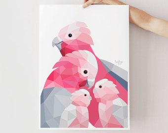 Galah illustration, Galah print, Galah art, Bird family, Aussie birds, Animal family art, Parents and baby art, Pink art, Australian birds