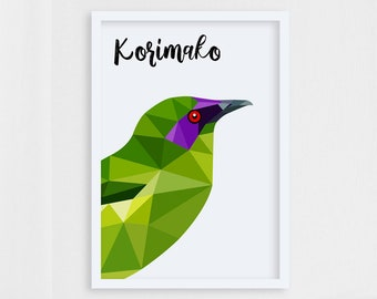 Bellbird print, New Zealand birds, Korimako illustration, Bird portrait, Korimako painting, New Zealand art, Kiwiana art, Bellbird painting
