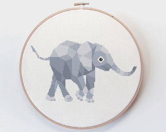 Elephant cross stitch, Charley harper embroidery, Birth announcement embroidery, Geometric elephant, Nursery cross stitch, Cute embroidery