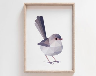 Wren illustration, Blue wren print, Female wren art, Splendid fairy wren illustration, Geometric birds, Australian bird art, Australian wren