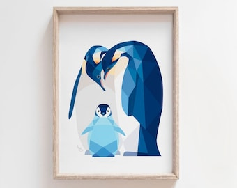 Penguin print, Penguin poster, Penguin illustration, Penguin baby art, Penguin nursery decor, Animal family art, New born art, Arctic art
