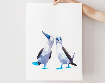 Blue-footed booby print, Blue-footed booby pair art, Blue-footed booby illustration, Geometric birds, Bird pair, Bird couple, Minimal decor