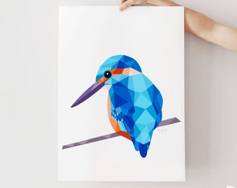 Kingfisher print, Kingfisher illustration Kingfisher art, Geometric kingfisher, Bird wall art, Scandinavian style, Minimalist design decor
