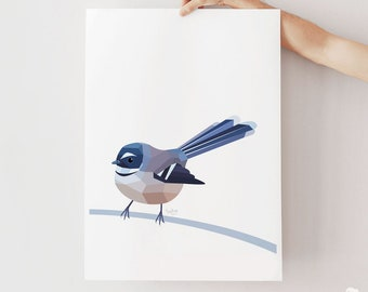 Fantail art, New Zealand fantail print, New Zealand native birds, New Zealand artist, Kiwiana, Kiwi gift, Made in NZ, Fantail illustration