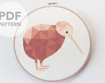 Cross stitch pattern, Kiwi cross stitch, New Zealand cross stitch pattern, Bird cross stitch pattern, New Zealand birds art, Kiwiana art