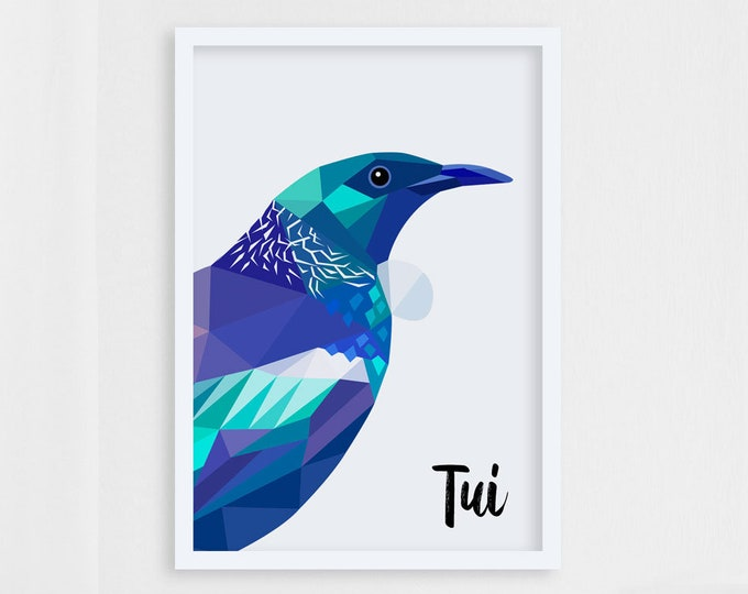 Featured listing image: Tui print, Tui wall art, Native New Zealand birds, New Zealand art, Kiwiana, Geometric bird, Kiwi, NZ artist, New Zealand postcard, Tui card