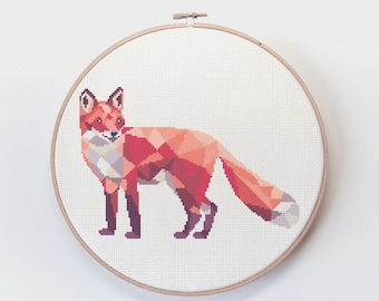 Cross stitch pattern, Fox cross stitch, Cross stitch pdf, Fox cross stitch pattern, First cross stitch, Woodland animals, Fox embroidery art