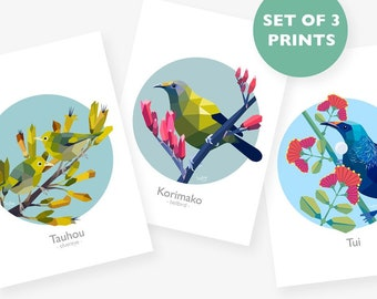 New Zealand bird prints, Kiwi wildlife art, Set of 3 A4 prints, Print set, Geometric bird art, New Zealand art, Bellbird, Tui, Silvereye art