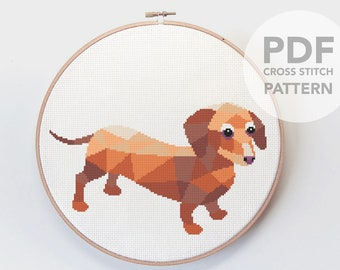 Cross stitch pattern, Dachshund cross stitch, Cross stitch PDF, Dog cross stitch, Pet cross stitch, Sausage dog art, Cute cross stitch art