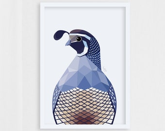 Quail print, Quail illustration, Quail bird art, Quail decor, Geometric quail, Wildlife art, Quail decor, Quail painting, Quail wall art