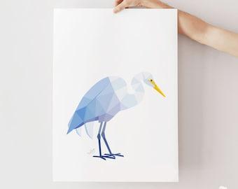 New Zealand print, New Zealand heron, Great egret, Kotuku art, Kiwi art, Kiwiana art, Native New Zealand birds, White heron print, Kiwi art