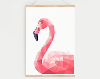 Flamingo print, Flamingo nursery print, Flamingo illustration, Flamingo baby, Flamingo nursery print, African wildlife, Safari print, Pink