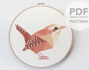 Wren cross stitch pattern, Wren art, Cross stitch pdf, Cross stitch download, Bird cross stitch, Geometric cross stitch, Easy cross stitch