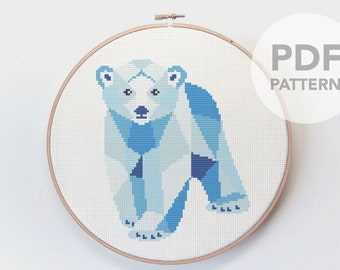 Cross stitch pattern, Polar bear cross stitch, Cross stitch PDF, Baby cross stitch, Baby shower gift, Nursery cross stitch, Cute polar bear