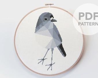 Cross stitch pattern, Robin cross stitch, New Zealand birds, Cross stitch PDF, Cross stitch art, Geometric cross stitch, Robin embroidery