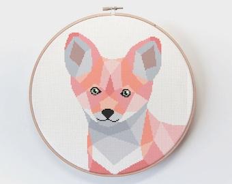 Fox cross stitch pattern, Cross stitch, Nursery cross stitch, Modern cross stitch, Fox embroidery, Geometric cross stitch, Baby cross stitch